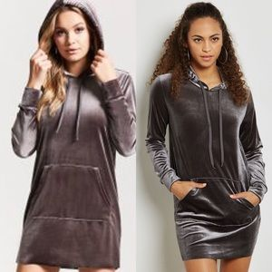 EUC Forever21 gray stretch velvet hooded dress